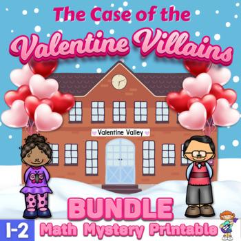 1st & 2nd Grade Word Problems Math Mystery Bundle - Case Valentine Villains