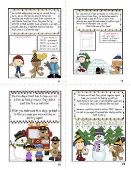 Math Mystery Bundle Grade 2 and 3-Case of the Scrambled New Year's Snowman-CCSS