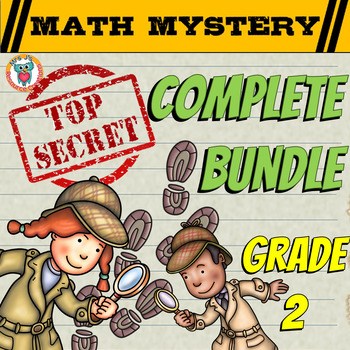 Math Mystery COMPLETE Bundle 2nd Grade Math Activities - CSI Math Spiral Review