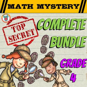Math Mystery COMPLETE Bundle (GRADE 4) - CSI Math Spiral Review Activities