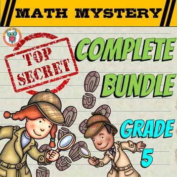 5th Grade Common Core Math Mystery Review - COMPLETE Bundle