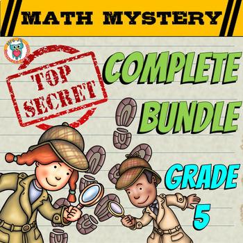 5th Grade Common Core Math Mystery COMPLETE Bundle - CSI Math Spiral Review