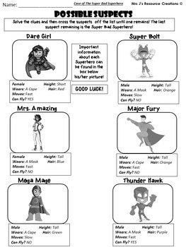 Math Mystery - Case of The Super Bad Superhero {GRADE 1 Mixed Math Review}