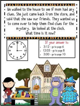 1st Grade Word Problems - Math Mystery - Case of the Halloween Hullabaloo