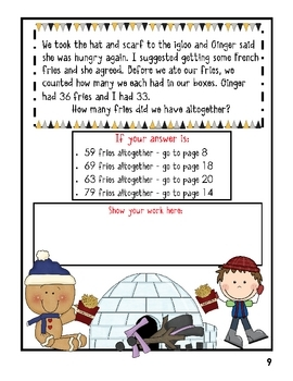 2nd Grade Word Problems - Math Mystery -Case of the Scrambled New Year's Snowman