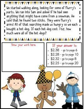 3rd Grade Word Problems - Math Mystery -Case of the Scrambled New Year's Snowman