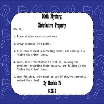 Math Mystery: Distributive Property- 6.EE.3