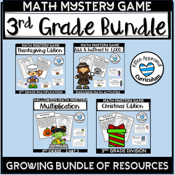 3rd Grade Math Mystery Games Bundle