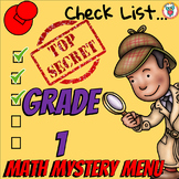 Math Mystery Menu Checklist & Guide - 1st Grade