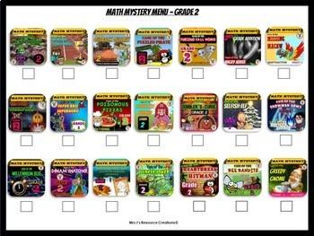 Math Mystery Menu Checklist & Guide - 2nd Grade