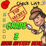 Math Mystery Menu Checklist & Guide - 3rd Grade