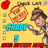 Math Mystery Menu Checklist & Guide - 5th Grade