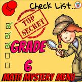 Math Mystery Menu Checklist & Guide - 6th Grade