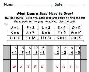 Math Mystery Message What Does a Seed Need to Grow?