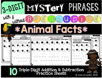 Math Mystery Phrases (3-Digit) - Animal Facts Version