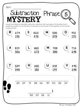 Math Mystery Phrases Pack (3-Digit)