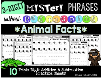 Math Mystery Phrases without Regrouping (3-Digit) - Animal Facts Version