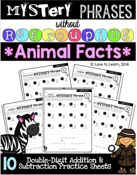 Math Mystery Phrases without Regrouping - Animal Facts Version