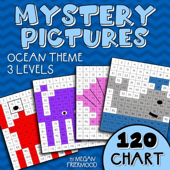 Math Mystery Pictures {120 Chart} Ocean Theme *DIFFERENTIATED*