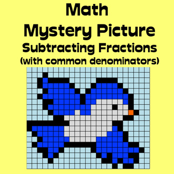 Math Mystery Picture (Bird) - Subtract fractions (with common denominators)