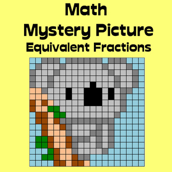 Math Mystery Picture (Koala) - Equivalent Fractions practice