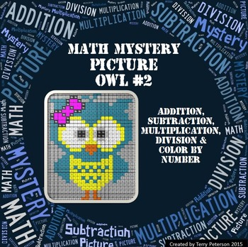 Math Mystery Picture Owl #2 Addition Subtraction Multiplic