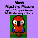 Math Mystery Picture (Parrot) - Input Output Tables (multi-step equations)