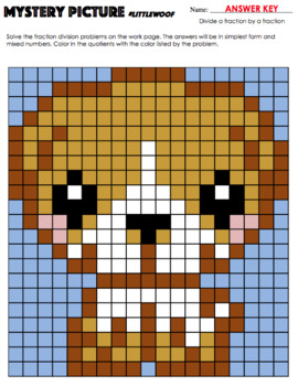 Math Mystery Picture (Puppy) - Dividing fractions practice