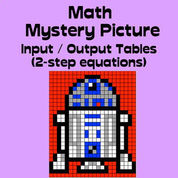 Math Mystery Picture (Robot) - Input Output Tables (2-step equations)