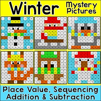 Winter Math Hundreds Chart Color by Number Winter Activities