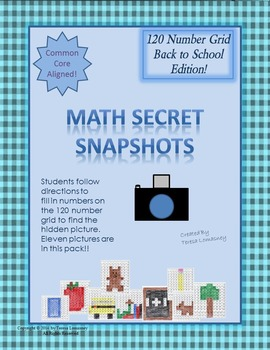 Math Mystery Pictures on 120 Grid Math Secret Snapshots Back to School Edition