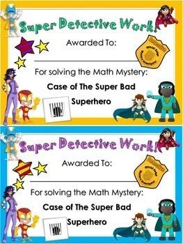 Kindergarten Superhero Math Mystery