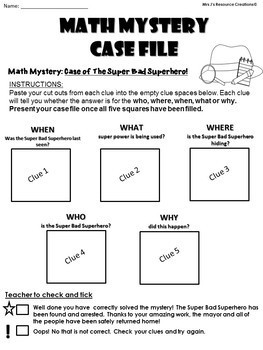End of the Year Free Math Activity - Kindergarten Superhero Math Mystery