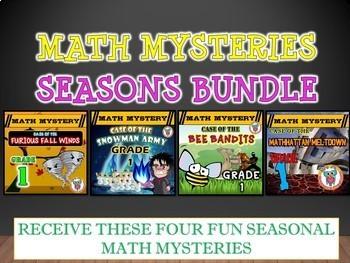 Math Mystery SEASONS Bundle Pack (Fall, Winter, Spring & Summer) - GRADE 1
