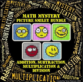 Math Mystery Smiley Picture BUNDLE Addition Subtraction Mu