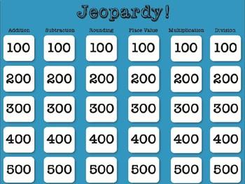 Math NBT Jeporady! Test Prep, Review, Fourth Grade