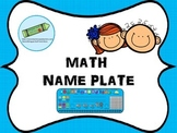 Math Name Plate in Spanish