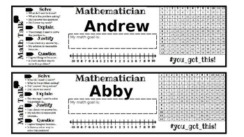 Math Name Tags (or bookmarks!)