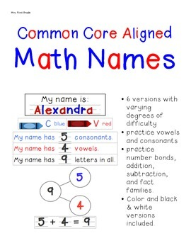 FREE Common Core Aligned Math Names