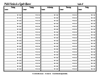 Math Needs Assessment Organizer