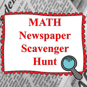Math Newspaper Scavenger Hunt