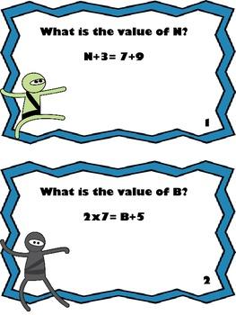 Math Ninja Scoot Game-Algebraic Concepts