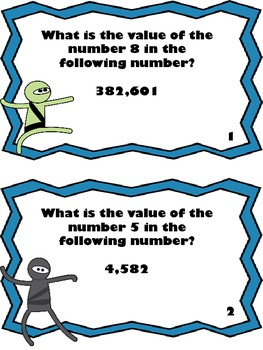 Math Ninja Scoot Game-Place Value