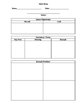 Math Note-Taking Sheet