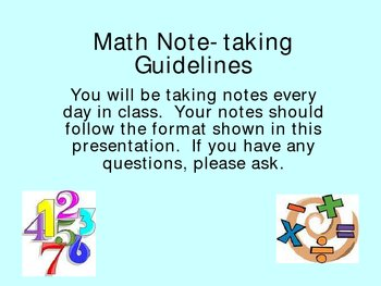 Math Note-taking Guidelines