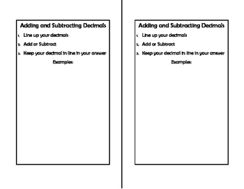 Math Notebook: Adding and Subtracting Decimals