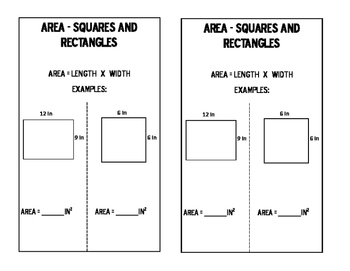 Math Notebook: Area of Rectangles and Squares