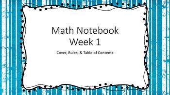 Math Notebook Beginnings