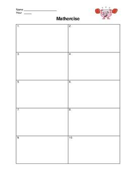 Math Notebook: Bellwork Sheet and Assignment Log