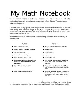 Math Notebook Contract